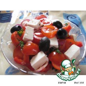 Рецепт: Салат томатный с сыром фета