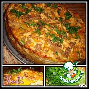 Рецепт: Хрустящий пирог с овощами и креветками