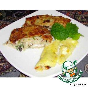 Рецепт: Лаваш со сливочным сыром, зеленью и омлетом
