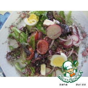 Рецепт: Зеленый    салат   с   фетой   в   йогуртовом   соусе