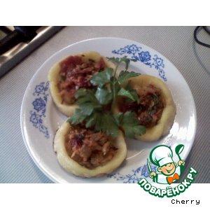 Рецепт: Картофельные гнезда постные