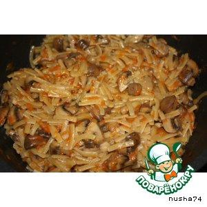 Рецепт: Лапша с грибами
