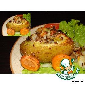 """Рецепт: Картофель, запеченный с грибами """"Телега"""""""