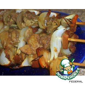 Рецепт: Шашлык из куриной печени