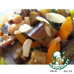 Рецепт: Закуска   из   баклажанов    с   грибами