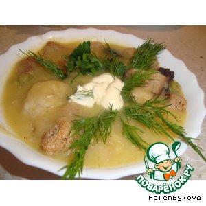 Рецепт: Суп-пюре из зеленого горошка с фрикадельками