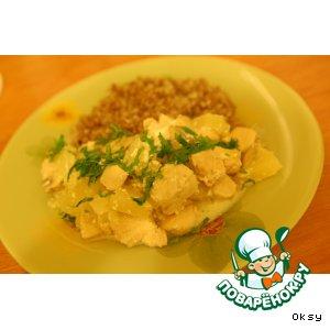 """Рецепт: Пикантное куриное филе """"Наша ряба"""" с ананасами"""