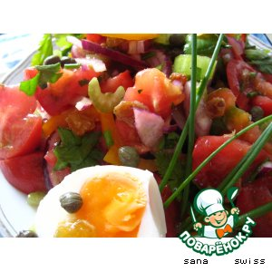 Рецепт: Салат   овощной   с   изюмом   и   каперсами