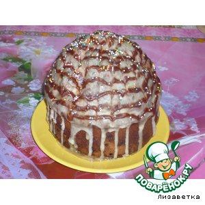 Рецепт: Кулич ванильный с шоколадно-коньячной глазурью