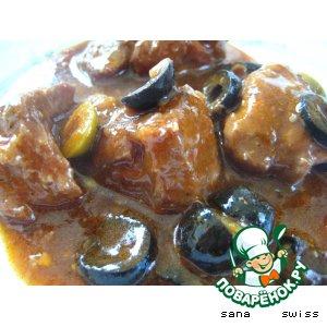 Рецепт: Мясное   рагу   с   грибами   и   орехами