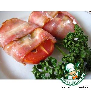Рецепт: Томаты,   запеченные  с   моцареллой   и   беконом
