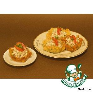 Рецепт: Сырная корзинка с салатом