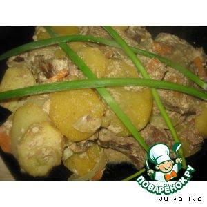 Рецепт: Картофель с печенью и грибами в рукаве