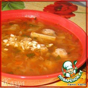 """Рецепт: Суп с фрикадельками """"Я помогаю папе"""""""