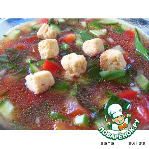 Рецепт: Холодный суп из свежих овощей
