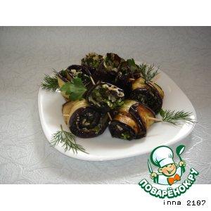 Рецепт: Рулетики из баклажанов c сыром и оливками