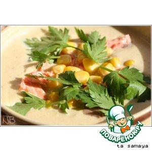 Рецепт: Сливочный крем-суп пюре с семгой