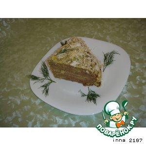 Рецепт: Печеночный торт с сырно-кефирным кремом