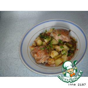 Рецепт Картофель с куриными бедрышками и зеленой фасолью