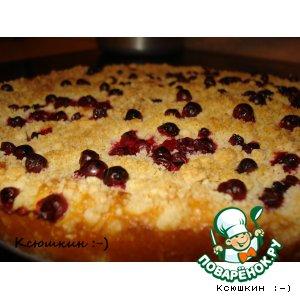 Рецепт Быстрый пирог с творгом и брусникой
