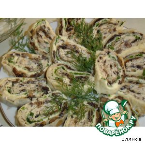 Рецепт: Сырно-грибной рулетик