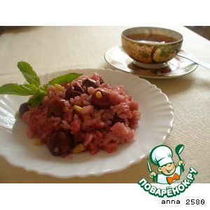 Risotto with cherries and pine nuts