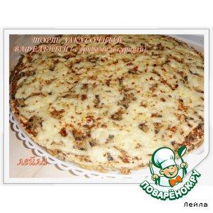 Рецепт: Торт закусочный вафельный с грибами и курицей