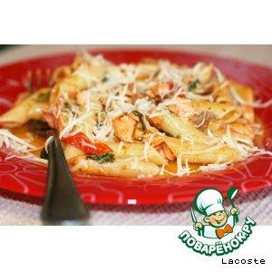 Рецепт: Паста с форелью, помидорами черри и рукколой