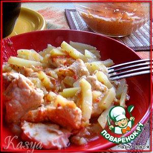 Рецепт: Горшочек куриный с жареной картошкой