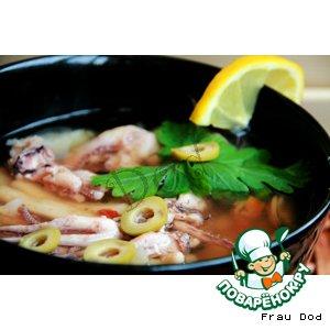 Рецепт: Суп из морского коктейля