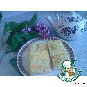 Рецепт: Творожный пирог Неженка с ревенем