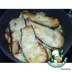 Рецепт: Овощи под баклажановой шубой