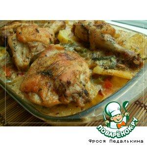 Рецепт: Куриные ножки с запеченными овощами