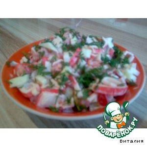 Рецепт: Легкий салат из крабовых палочек