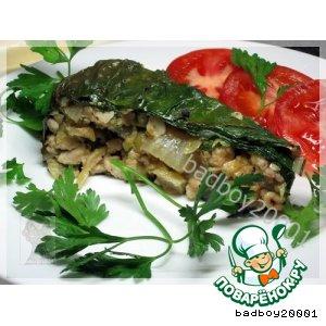 Рецепт: Мясной пирог в листьях мангольд