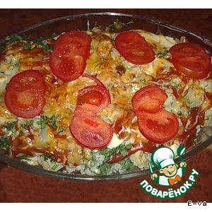 Рецепт: Цветная капуста в сливочно-горчичном соусе под сыром и томатом