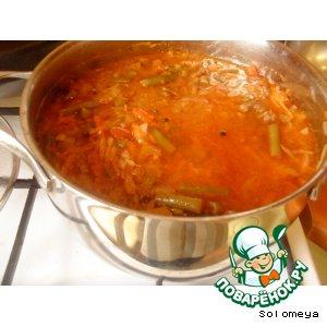 Рецепт: Густой суп из мороженых овощей с тушенкой
