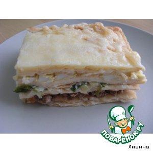Рецепт: Закусочный пирог из готовых коржей