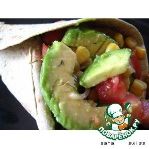 Рецепт: Салат   с   авокадо    в   лаваше