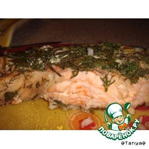 Рецепт: Запечeнная сeмга с зеленью