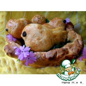 Рецепт: Сладкие булочки «Весеннее гнездо»