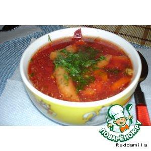 Рецепт: Овощной суп со свеклой и фасолью