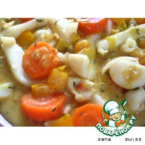 Рецепт: Овощное   карри   с   кальмарами