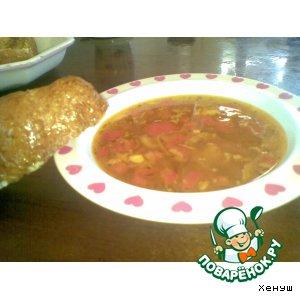 Рецепт: Суп на рыбном бульоне с гренками