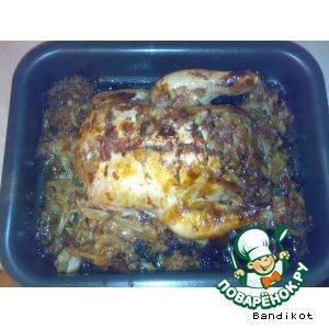 Рецепт: Курица с капустой, запеченная в духовке