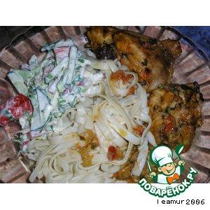 Рецепт: Курица в соусе, запеченная в рукаве