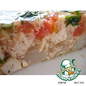 Рецепт: Холодный куриный террин с томатами, спаржей и базиликом