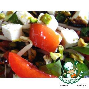 Рецепт: Овощной   салат   с   фетой,   соевыми    ростками   и   фисташками