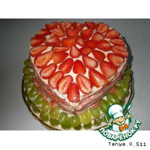 """Рецепт Бисквитный торт с фруктами """"Для любимой дочери"""""""