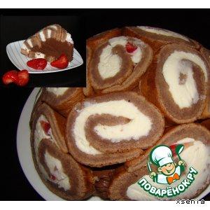 Рецепт: Заливной торт с клубникой и маскарпоне